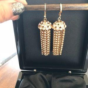 Kate Spade Gold Crystal Tassel Drop Earrings